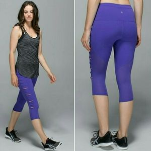 NWOT Lululemon Breezy Mesh Purple Crop Leggings💜
